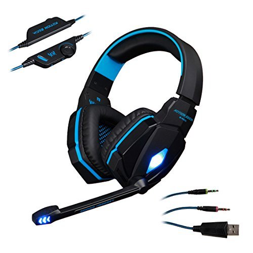 KOTION EACH G4000 Stereo Gaming Headset PC With Mic for Laptop Computer Smartphones, AFUNTA 3.5mm Plug Bass Over-ear Gaming Headphone with Volume Control -Blue