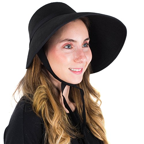 (Tigerdoe Black Bonnet - Victorian Bonnet - Bonnet Hat - Felt Bonnet - Medieval Hat for Women)