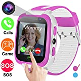 Smartwatch for Kids-TURNMEON Game Smart Watches for Girls Boys Birthday Gifts Back to School with SOS Calls SIM Card Slot Alarm Clock for iOS Android Smartphone (Pink)