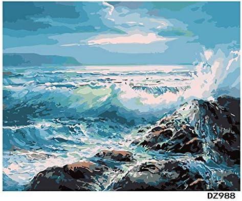 yaonuli De Acuerdo con la Gota Digital Pintura al óleo DIY Azul mar Ola Paisaje Pared Arte Pintura Pintura acrílica 40x50 cm Sin Marco