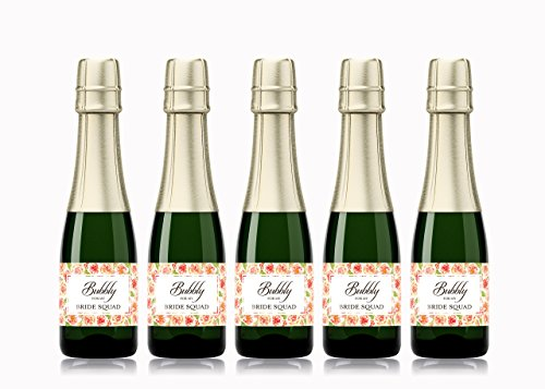 Babe Mini (● BUBBLY for My BRIDE SQUAD ● SET of 12 ● Bachelorette Party Mini Wine Labels ● Bride Tribe Bubbly, Bride's Babes Bubbly, Bridal Shower Mini Champagne Labels, Pop Fizz Clink! WEATHERPROOF, A145-12BSQ)