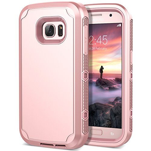 Galaxy S7 Case, CinoCase Triple Layer Heavy Duty Armor Protective Case Inner High Impact Rugged Solid Hard PC Outer Soft Silicon Rubber 3 in 1 Tough Cover for Samsung Galaxy S7 - Rose Gold