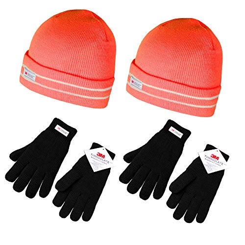 (Evridwear Glove and Pull-Over Cap 2pc Set, Triple Layer Knit Thinsulate Fleece Line for Cold Weather (One Size, 2 Pack Black Gloves + Orange Hat))
