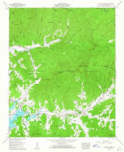 (YellowMaps Shooting Creek NC topo map, 1:24000 Scale, 7.5 X 7.5 Minute, Historical, 1957, Updated 1964, 26.8 x 21.8 in - Tyvek)