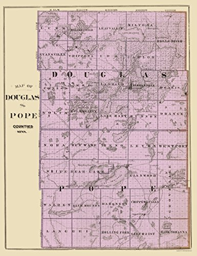 Old County Map - Douglas, Pope Minnesota Landowner for sale  Delivered anywhere in USA