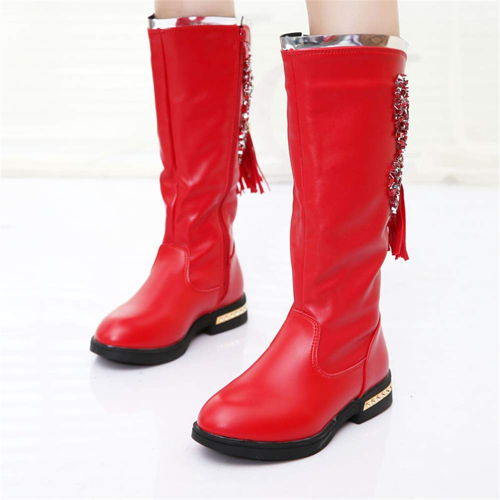 Red-EU 31//13 M US Little Kid Boots Autumn and Winter Princess Martin Boots