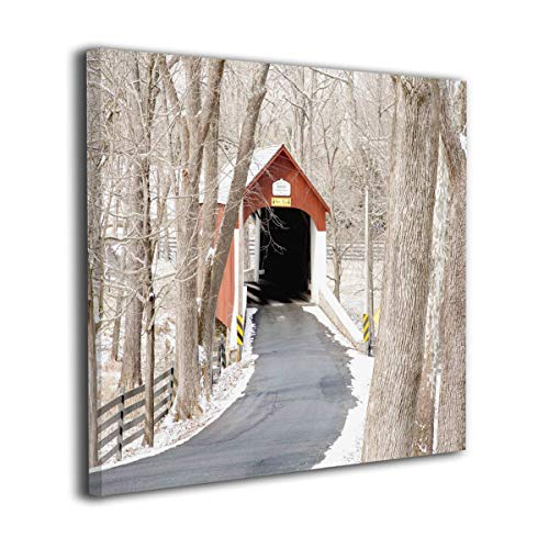 Yanghl Canvas Wall Art Prints Covered Bridge PA Modern Decorative Artwork for Wall Decor and Home Decor Framed Ready to Hang 16