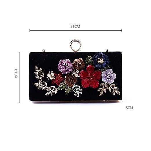 Bolso de Noche para Mujer Flor,Abalorios Bolsos de Embrague,Brillante Floral Bolsa de Embrague con la Correa de Cadena Desmontable -A: Amazon.es: Equipaje