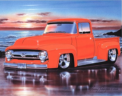 1956 Ford F100 Pickup Hot Rod Truck Art Print Orange 11x14 Poster
