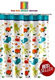 Fun Kids Fabric Bathroom Shower Curtain with 12 Plastic Hooks, 72 x 72, Mold Resistant, Waterproof Polyester Cloth ~ Antimicrobial, for Boys & Girls with Octopus / Fish / Whale / Sea Creatures Design