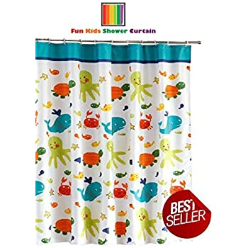 Fun kids fabric bathroom shower curtain with for Kids shower curtain sets