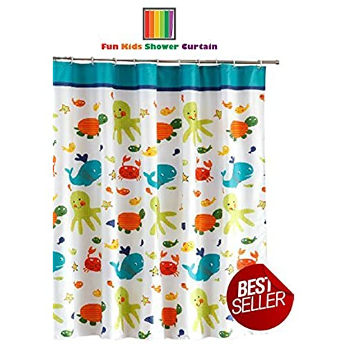 Fun Kids Fabric Bathroom Shower Curtain With 12 Plastic Hooks 72 X Mold Resistant Waterproof Polyester Cloth Antimicrobial For Boys Girls