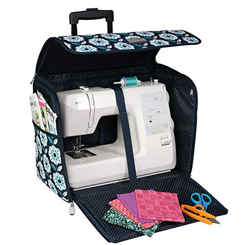 Buy Cheap Everything Mary EVM12439-3 Teal Floral Collapsible Rolling Tote Sewing Machine Carrying Ca...