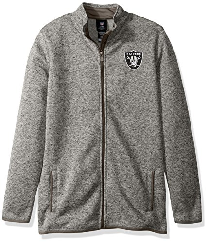 Outerstuff NFL Youth Boys Lima Full Zip Fleece Jacket-Cool Grey-XL(18), Oakland Raiders
