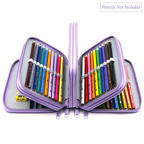 WeiBonD 72 Holders Handy Multi-layer Zipper Pencil Case with Handle Strap in Oxford Fabric for Watercolor Pencil, Gel Pen, Small Marker (Purple)