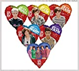 "One Direction Boy Band 17"" Assorted Members Heart Shaped Mylar Foil Balloon Set - Party Supplies"
