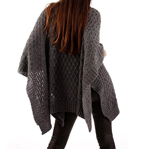Made Italy - Poncho - capa - Básico - Sin mangas - para mujer gris oscuro
