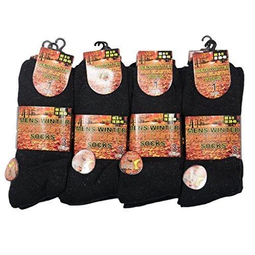 Hommes Non 6 De Chaussure Chaussettes Hiver Taille 12 Chaud Randonne lastique Travail Noir Poigne Chunky Marche Paires 11 Uk Botte Pas B5xXq