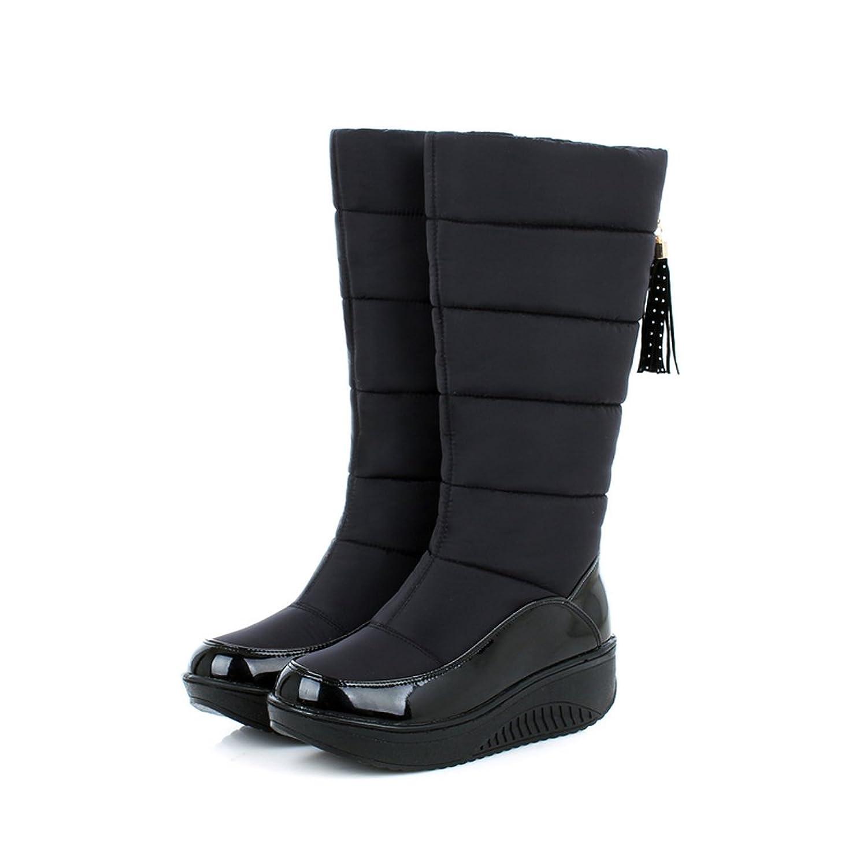 Mostrin Women's Mid-calf Wedge Boots Fashion Tassel Warm Fur Water Resistant Winter Snow Boots