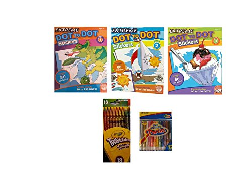 Extreme Dot-to-Dot Stickers Coloring Books by Mindware/Twistable Color Pencils/Mini-Crayons 5-Pc Bundle (Top Model Coloring Book compare prices)