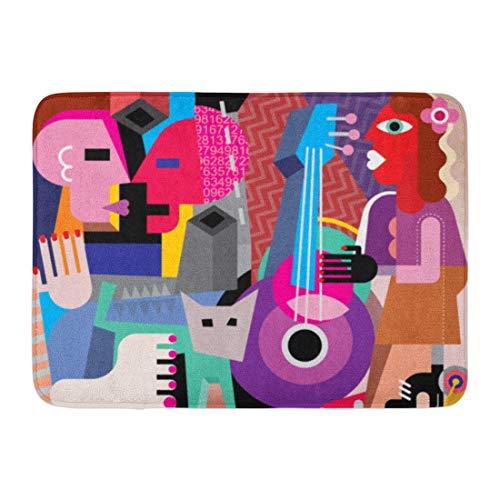 Emvency Doormats Bath Rugs Outdoor/Indoor Door Mat Picasso The Dancing Couple and Woman Playing Guitar Fine Abstract Dance Bathroom Decor Rug 16