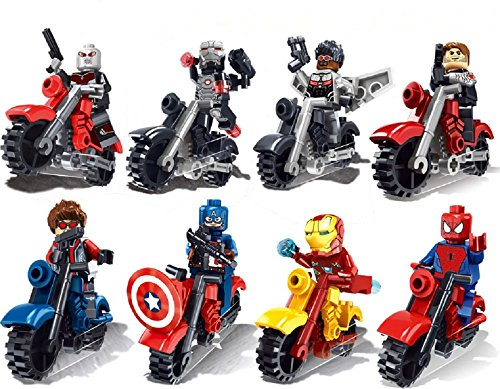 BIGOCT® Marvel DC Super Heroes Action Mini Figure with Vehicle Motorcycle (Lot of 16)