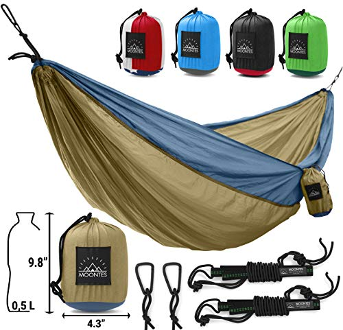 Double Camping Hammock with Straps | Lightweight Portable Nylon 2 Person Hammock for Travel, Beach, Yard, Khaki by Moontes (500 lbs, 118 78 inches)