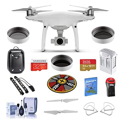 "DJI DJI Phantom 4 Pro+ Premium Kit Bundle With DJI Plastic Case, 64/32GB MicroSDXC Card, Spare Battery, Quick-Release Propellers, Propeller Guard, 32"" Collapsible Pad, Polar LED Light Bars, More"