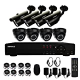 SANSCO 8CH Security Camera System 1080N DVR Reorder with 8X Super HD 1.0MP Outdoor Camera(1280x720 Bullet+Dome Cam, Rapid USB Storage Backup,Night Vision, Hard Drive NOT Included)