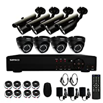 SANSCO Smart CCTV Security Camera System, 8-Channel 1080N DVR Recorder with 8x Super HD 1.0MP Outdoor Cameras (1280x720 Bullet Cam, Rapid USB Storage Backup, NO Hard Drive)
