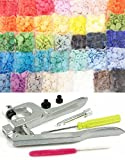 370 KAMsnaps 37-Color Starter: Size 20 KAM Snaps KAM Pliers Press Plastic Snap-On No-Sew Buttons Fasteners Installation Punch Attach Setter Setting Tool Bibs Diapers White Black