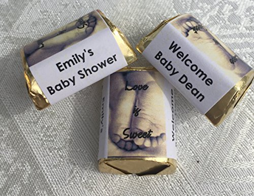 - 210 ADORABLE BABY FEET BABY SHOWER HERSHEY NUGGET CANDY WRAPPERS/STICKERS/LABELS personalized for unknown gender shower. Make your own party favors using your Hershey nuggets!
