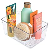 iDesign Rain Plastic Bathroom Cosmetic Organizer with Handles, Storage Bin for Makeup, Contact Lenses, Solution, Cotton Balls, 6' x 10.25' x 4.25' - Clear