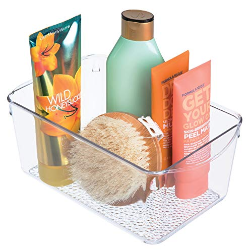 iDesign Rain Plastic Bathroom Cosmetic Organizer with Handles, Storage Bin for Makeup, Contact Lenses, Solution, Cotton Balls, 6 x 10.25 x 4.25 - Clear