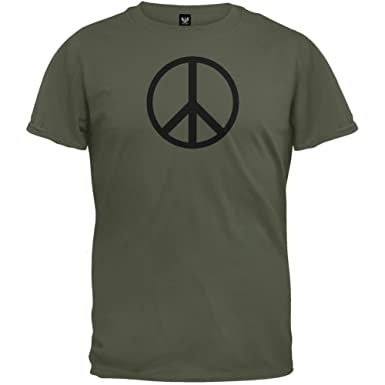 Amazon.com: Old Glory - Mens Peace Sign T-Shirt X-large Dark Green ...