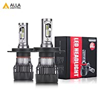 Alla Lighting S-HCR 2018 Newest Version 10000 Lumens Extremely Super Bright Cool White High Power SUPER Mini H4 9003 HB2 LED Headlight Bulb All-in-One Conversion Kits High Low Beam Headlamp Bulbs Lamp