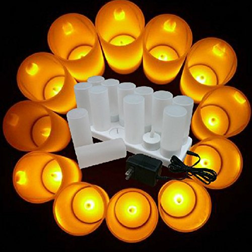Winterworm Rechargeable Flameless Yellow Flickering Tea Light Candle with Frosted Holder for Xmas Party Wedding Festival Holiday Party Decoration Supplies (Set of 12, With Remote Control) by Winterworm (Image #2)