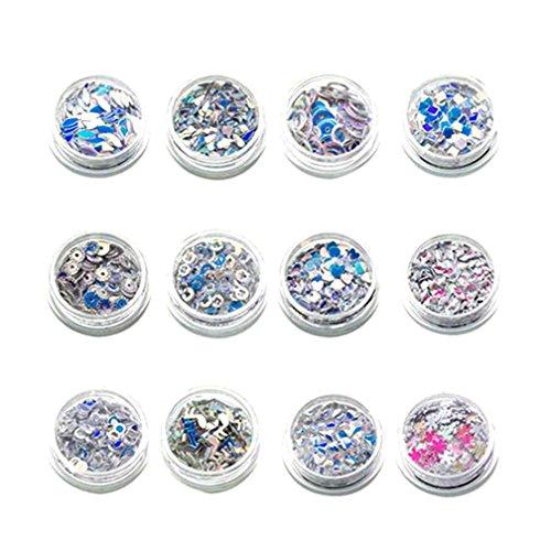 Price comparison product image kaifongfu 12 Pcs Colors DIY Nail Art Tips 3D Stickers Glitter Sequins Manicure Nail Sequins (A)
