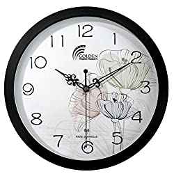 12 Inches Wall Clock , Best Designer Radio Controlled Clock , Black Frame with Acrylic Lense ; Decor Clock & Modern / Decorative / Fancy / Art and Atomic Clock For Living Room / Bed Room / Office