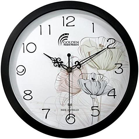 12 Inches Wall Clock , Best Designer Radio Controlled Clock , Black Frame with Acrylic Lense Decor Clock Modern Decorative Fancy Art and Atomic Clock For Living Room Bed Room Office