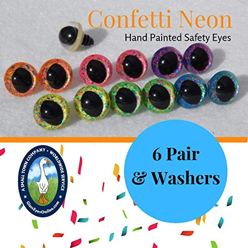 Safety Eyes Slit Pupil Confetti Neon Hand Painted 6 Pair (Green, 10mm)