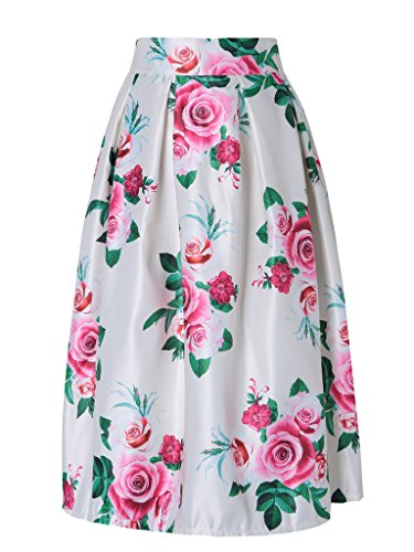 Floral Ruffle Skirt (Persun Women's Floral Print Elastic High Waist A-line Ruffle)