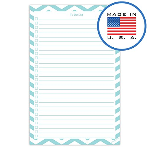 321Done to Do List Planning Pad - 50 Sheets (5.5 x 8.5) to-Dos Notepad Tear Off, Planner Checklist Organizing - Made in USA - Chevron Teal