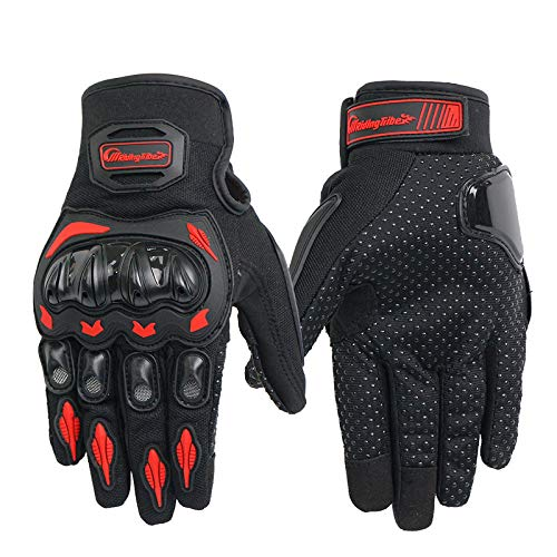 XuBa Unisex Motorcycle Gloves Summer Breathable Moto Riding Protective Gear Non-Slip Touch Screen Guantes Red XL