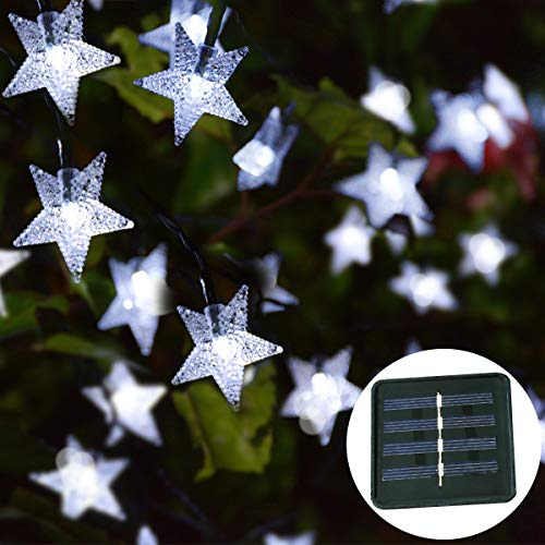 Windpnn 30ft Solar Powered Star String Lights, 50LED Solar Fairy Lights Outdoor Waterprooof for Christmas, Party, Wedding, Home, Garden, Patio Decoration (Cool White) ()