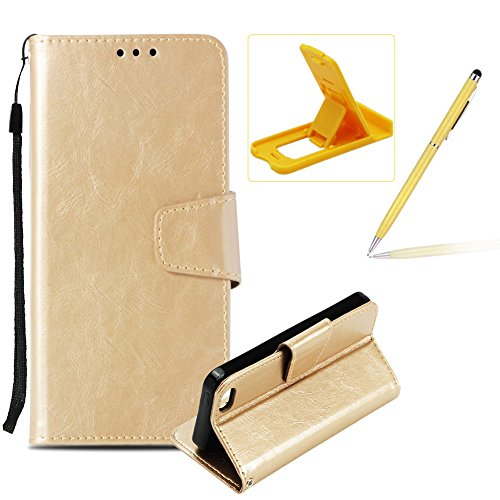 Price comparison product image Herzzer Strap Leather Case for iPhone 5C, Wallet Flip Case for iPhone 5C,  Retro Classic Gold Solid Color Magnetic Stand Card Holder Folio PU Leather Back Case with Soft Silicone