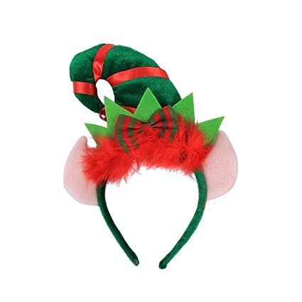 Lurrose Diadema de Navidad Elfo del pelo con el aro del traje del ...