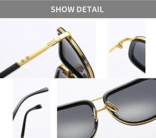 Gafas de clásica sol Retro la Marco marca diseñador Aviador de forma de oro para hombres en Marrón Eyewear gran de cuadrada tamaño hombre UV400 qXwdwUF