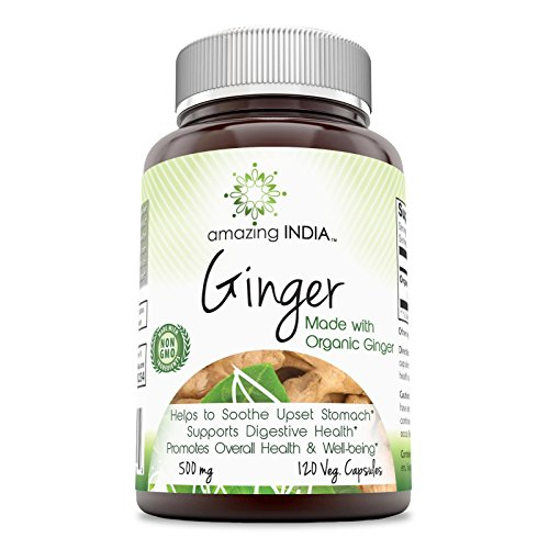 - Amazing India Organic Ginger - 500 Mg, 120 Veggie Capsules - Helps Soothe Upset Stomach - Supports Digestive Health - Promotes Overall Health & Well-Being.