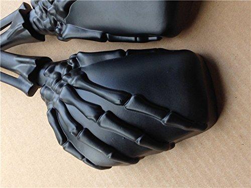 NBX Espejo de mano de calavera negra para Suzuki Gsxr Hayabusa Cruiser Yamaha Honda